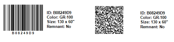 An example 2D barcode and QR code in QuickQuote
