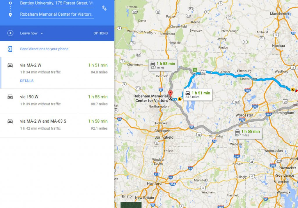 Example Google route map