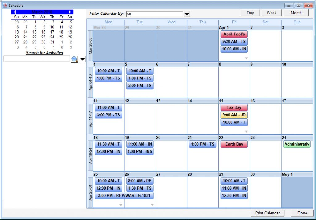QuickQuote's built-in calendar displaying a view of the whole month