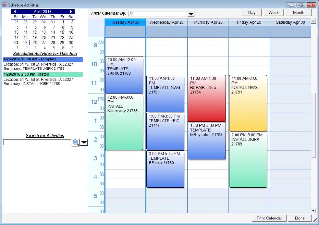 QuickQuote's built-in calendar