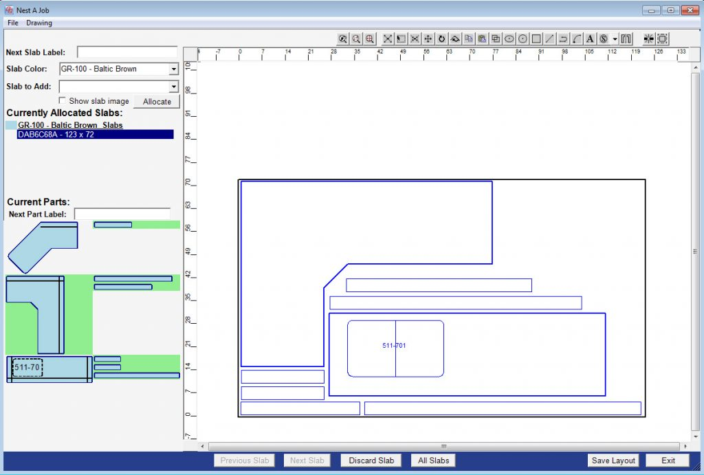 A sample slab layout created in QuickQuote