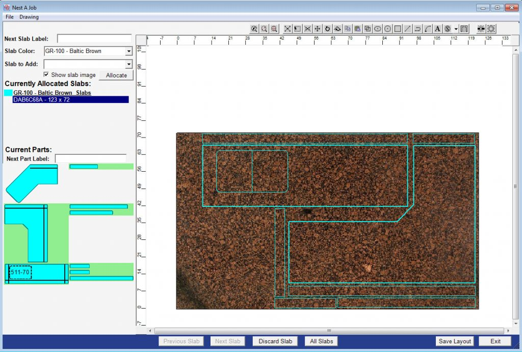 An example of a slab layout with an image created in QuickQuote